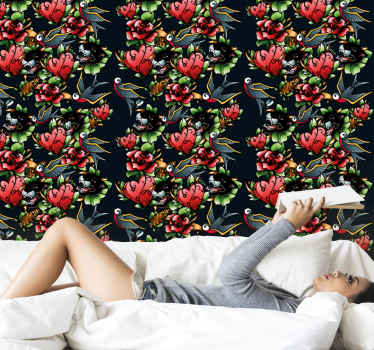 Bring a touch of vintage on your space with this high quality red wallpaper with patterned designs. It is suitable for bedroom space, living room, etc