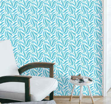 Seamless blue leaves leaf wallpaper -This vinyl wallpaper would completely change your space with an outstanding appearance and presence.