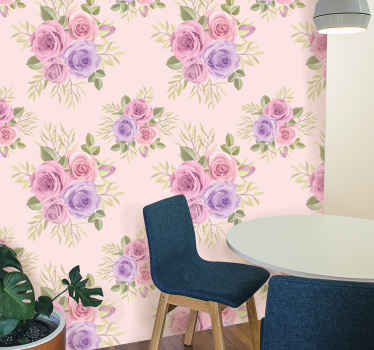 What could be more colorful and friendly to customize the bedroom space of little kids than this amazing colorful flower patterned wallpaper in pink.