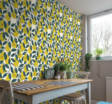 Add some fun and excitement to your walls using this pear tree wallpaper.  This design would be great in kitchens where it will add a bold character