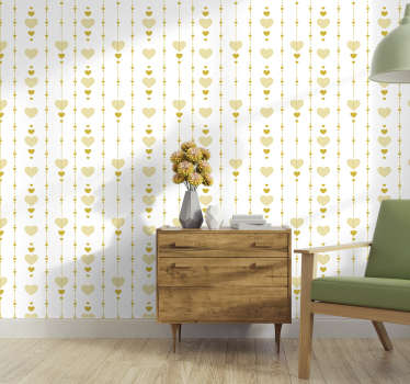 Luxury wall paper design created in gold colour with hearts in an ornamental pattern that you will love. This design is easy to apply on the surface.