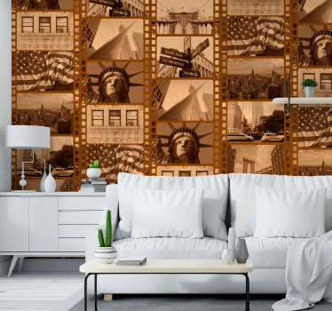 Bring together your love of New York, Film and all things retro with this awesome sepia New York filmstrip wallpaper. Free delivery available!
