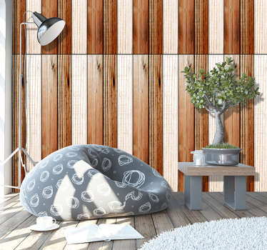 Textured wallpaper imitating wood with white an brown stripes that will make your home more welcoming and with a more original and modern decor.