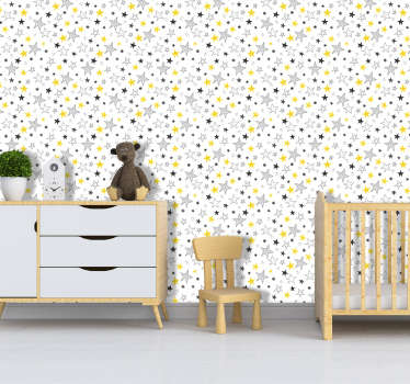 Turn any room in your home, office or store into a place of wonder with this star pattern wallpaper. Worldwide delivery available!