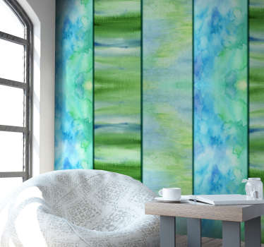 Exclusivo papel pintado de torrentes de pintura en tono azulado para decorar tu salón o dormitorio. Fácil colocación. Envío exprés 24/72h.