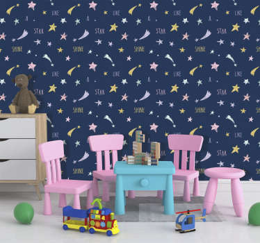 Bring the beauty of the night's sky into your home with this beautiful golden star laced wallpaper. Free delivery available worldwide!