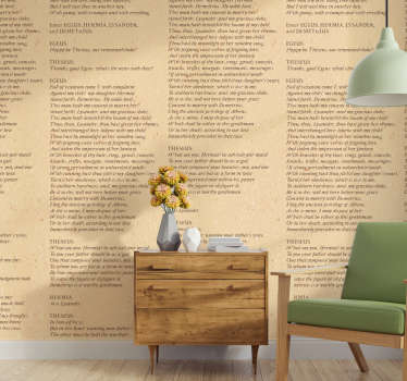 Shakespeare Paper Script Bedroom Wallpaper