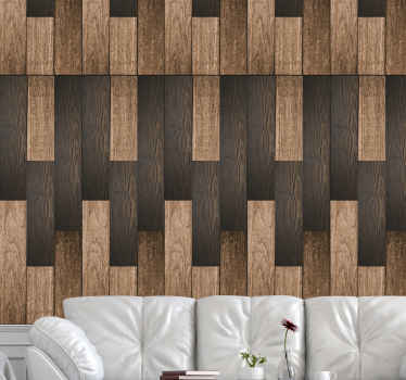 Vintage wallpaper with a texture imitating wood in dark brown tones designed with a more rustic and classic decoration in your living room.