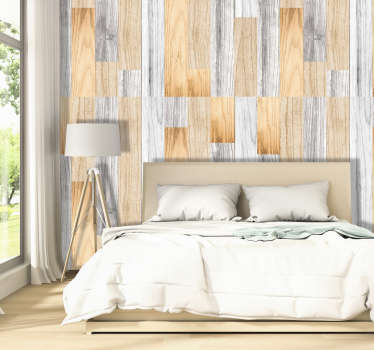 Magnificent luxury wallpaper with a pattern imitating wood in neutral tones. Ideal for decorating the walls of your living room.