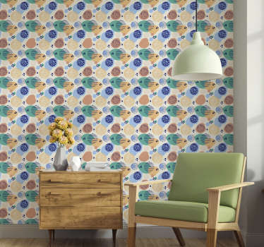 It is time to decorate your living room with this colourful textured wallpaper. ? This colourful design with stain pattern is a good choice.