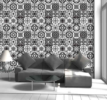 Sublime ornamental wallpaper with tiles of multiple patterns in shades of white and black, which the whole family will love.