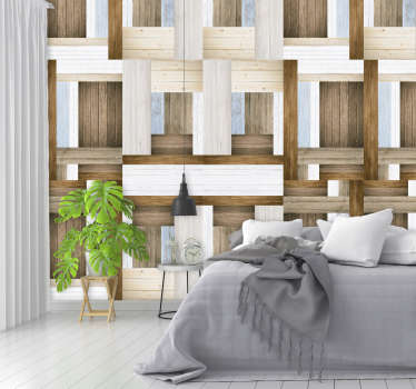 Wooden Labyrinth Textured Wallpaper
