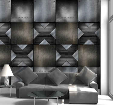 Wonderful abstact wallpaper with a pattern imitating metal effect of different textures and shades. Ideal for an exclusive decoration.