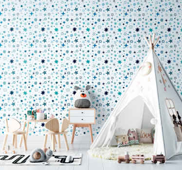 An amazing and stunning wallpaper with stars in a blue colour would look amazing in the bedroom of your kids. You can order it in any size you want.