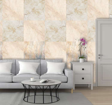 This textured wallpaper is the perfect alternative for those who want a marble wall at a low cost. Easy to apply and includes instructions.