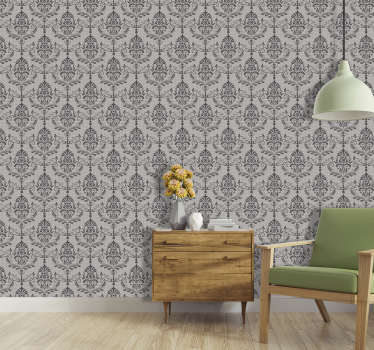 Sublime classic ornamental wallpaper with gray background and black drawings. An ideal product to decorate your living room.