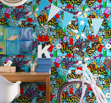 Bring life and color to your room with this spectacular artistic wallpaper with a pattern alluding to graffiti and urban art.