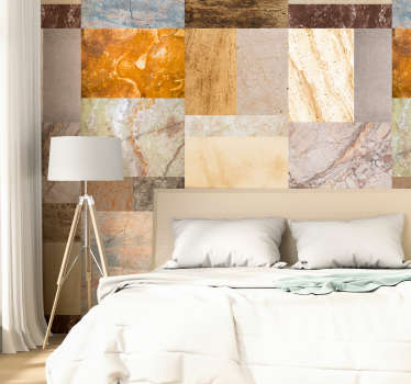 Magnificent patterned wallpaper imitating marble, with stones of various colors and textures that will look great in your walls.