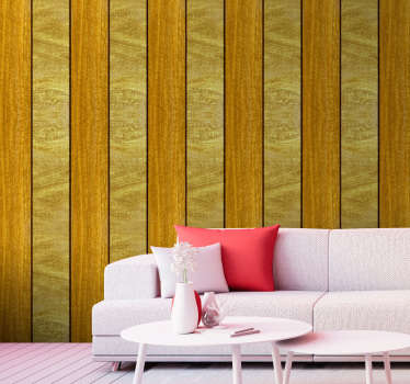 Sublime wood textured wallpaper whose pattern consists of vertical bands in shades of brownish yellow and gold, the ideal decoration for your walls.