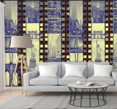 Fantastic scenary wallpaper with a pattern composed of a collage of negatives with photographs of the splendid city of New York.