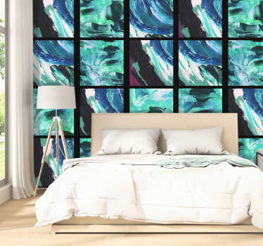 The abstract wallpaper is composed of rows of squares with images in blue tones that will give calmness and peace to any room in your home.