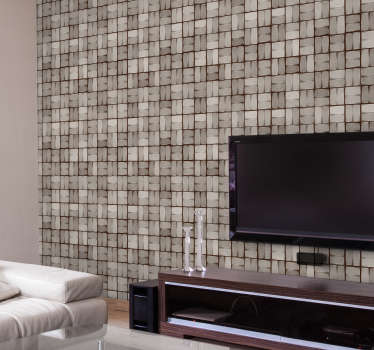Fantastic textured wallpaper with pattern formed by a mosaic to imitate stone texture that will look great in any room of your house!