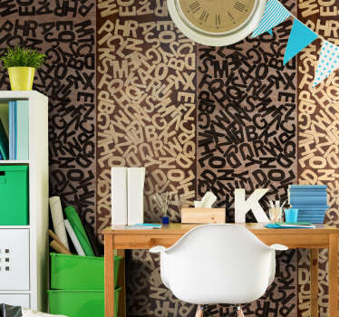 Decorate your children's room in a personalized way with this letter wallpaper whose pattern is formed by a heap of letters in beige and black tones.