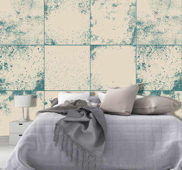 This fantastic textured and patterned wallpaper imitating white tiles stained in a greenish blue will be perfect in your bedroom or living room.