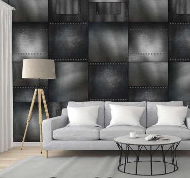 精美的老式墙纸,由多个方形图案组成,其颜色代表不同的发光黄铜反射。