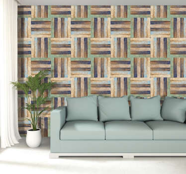 If you want to add a lovely splash of colour to your walls this wood effect wallpaper is what you need! Beautiful, unique pattern.