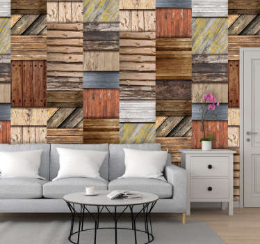 Papel decorativo pared bloques madera noble