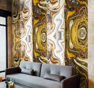 This abstract vinyl wallpaper whose pattern consists in an abstract painting in shades of white and gold, is perfect for decorating you home.