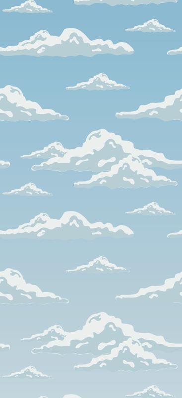 TenVinilo. Papel pared abstracto patrón de nubes. Flota entre las nubes con su propio papel pintado azul de cielo con nubes blancas en cielo azul. Elige los rollos que necesites ¡Compra online!