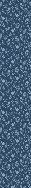TenStickers. Mavi çiçek desenli illüstrasyon çiçek duvar kağıdı. Konumlandırmak istediğiniz yerde huzur ve sükunet atmosferi verecek beyaz ve mavi çiçek tasarımlı mavi çiçekli duvar kağıdı.