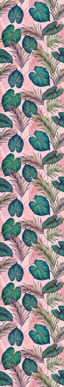 TenStickers. Tapeta do salonu Różowy tropikalny liść. Tapeta liść z wzorem pięknych tropikalnych liści w odcieniach różu i zieleni. łatwe do nałożenia.