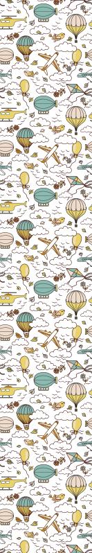 TenStickers. Carta da parati cameretta Veicolo volante. Carta da parati per bambini che presenta un motivo di elicotteri, mongolfiere, elicotteri e altri veicoli volanti tra alcune nuvole.