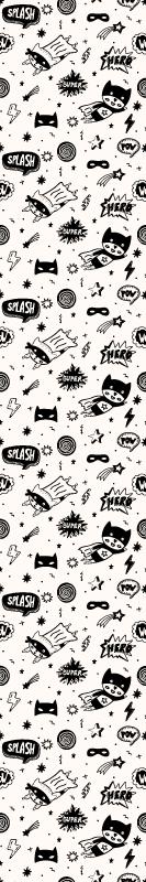 TenStickers. Papier peint moderne Texture comique d'onomatopée. Papier peint parfait pour chambre d'enfants avec des dessins affichant différentes figures de bande dessinée, des illustrations de super-héros.