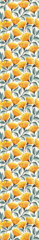 TenVinilo. Papel pintado de flores tonos naranjas. Papel pintado de flores de color naranja para la decoración del hogar. Patrón de flores naranjas con el que te quedará un hogar único
