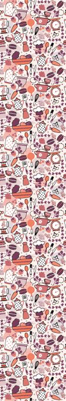TenStickers. Papier peint cuisine  nourriture . Papier peint de cuisine avec un design de nombreux ustensiles de cuisine de différentes couleurs qui rempliront votre cuisine de joie.
