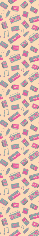 TenStickers. Multicolored posters vintage wallpaper Retro Wallpaper. Colorful wallpaper with the illustration of radios and music equipment from the 80s, which will give a retro and colorful touch to your home.