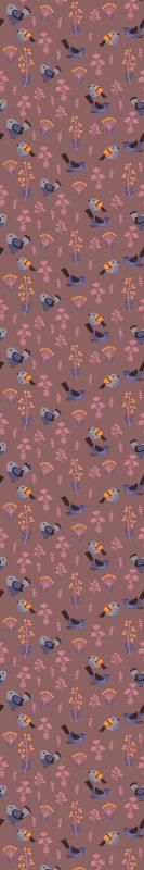 TenStickers. papel de parede animais Pássaros rosa vintage fundo marrom. Fundo marrom quarto papel de parede 3d contendo desenho de vários pássaros com flores. Também bom para corredores, sala, escritório e outros espaços.