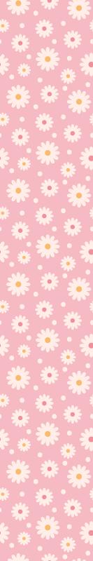 TenStickers. Carta da parati a fiori Margherite vintage con sfondo rosa. Uno straordinario sfondo a tema natura floreale con il design di vari fiori di margherite. Perfetto per la cameretta dei bambini e altri spazi.