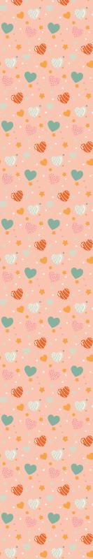 TenStickers. papel de parede flores Corações vintage em tons de rosa. Coração colorido molda papel de parede estampado para embelezamento do quarto das crianças. Um papel de parede original, fácil de aplicar, duradouro, à prova d'água e à prova de desbotamento.