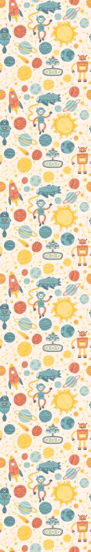 TenStickers. Papier peint différents dessins de robots. Papier peint avec diverses illustrations de dessin de robots et d'éléments spatiaux. Le produit est fabriqué avec des matériaux de première qualité.