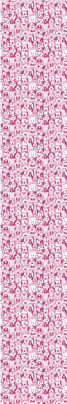 TenStickers. Papier peint chambre Dessin de chiens roses avec fourrure. Papier peint de dessin de chien différent pour la chambre des enfants. Il peut également être appliqué sur d'autres pièces d'une maison