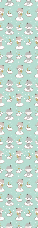 TenStickers. Sheep drawing on green background Cool animal wallpaper. Cool animal print wallpaper for you baby room. The wallpaper consist of various illustration of a little girl sitting in the cloud on a sheep costume.