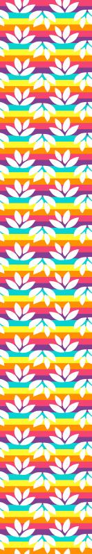 TenStickers. papel parede natureza Arco-íris com folhas brancas. O papel de parede colorido e brilhante do quarto consiste em um arco-íris com folhas brancas. O produto é fabricado com material de qualidade.