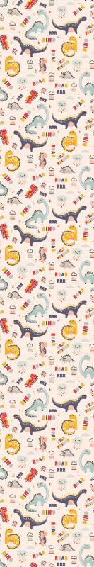 TenStickers. Carta da parati cameretta Dinosauri colorati con nomi. Carta da parati colorata a motivi animali per la cameretta dei bambini. è caratterizzato da un design vari dinosauri con testo che descrive il suono.