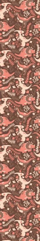 TenStickers. 恐龙和叶子的孩子壁纸. 儿童卧室墙纸,特色设计说明了栖息在森林景观上的各种恐龙。它防皱,防水。