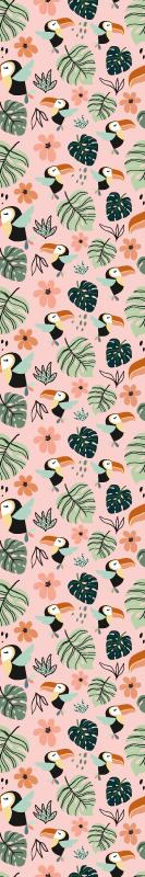 Tenstickers. Viidakon lintu ja kasvi Tapetti lastenhuoneeseen. Lasten tapetti, jossa on upea kuvio viidakon lehdistä, kukista ja trooppisista linnuista vaaleanpunaisella taustalla.